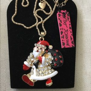 """NWT Betsey Johnson Santa blinged out necklace 15"""""""